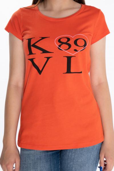 KVL - Tricou dama cu maneca scurta si imprimeu logo