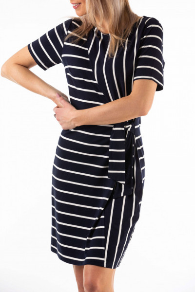 Montecristo - Rochie dama cu imprimeu in dungi si cordon pentru ajustare in talie