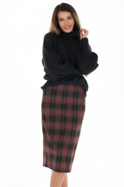 Timeout - Fusta dama din tricot cu imprimeu in carouri