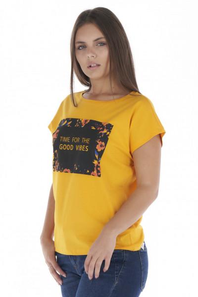 KVL - Tricou dama cu maneca scurta si imprimeu cu mesaj