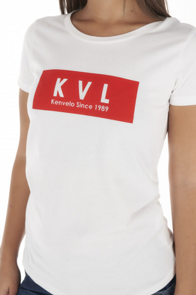 KVL - Tricou dama din bumbac cu logo pe piept