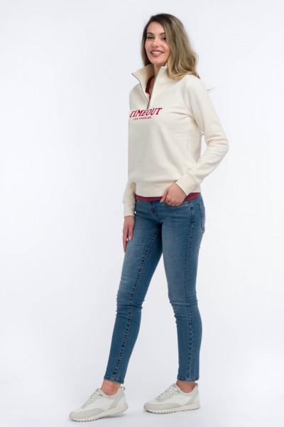 Timeout - Bluza maneca lunga cu logo si fermoar la baza gatului