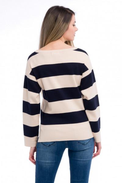 Timeout - Pulover din tricot cu imprimeu in dungi