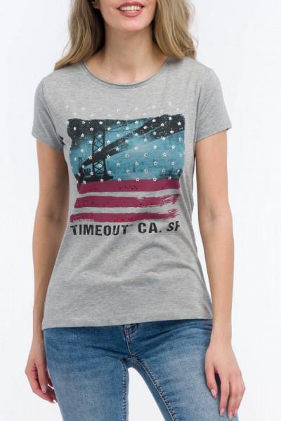Timeout - Tricou cu decolteu la baza gatului si imprimeu