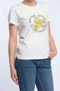 KVL - Tricou dama cu imprimeu floral si mesaj