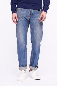 Lee Cooper - Blugi straight fit din bumbac cu aspect decolorat