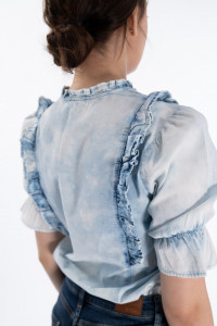 Lee Cooper - Camasa dama cu maneci bufante si aspect decolorat