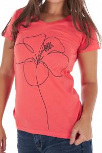 Timeout - Tricou dama cu decolteu in V si imprimeu floral