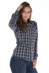 KVL - Camasa dama cu maneca lunga in carouri si buzunare pe piept