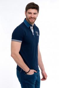 Timeout - Tricou tip polo cu aplicatii din denim