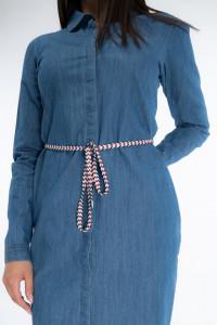 KVL - Rochie tip camasa din denim cu buzunare in lateral si snur in talie