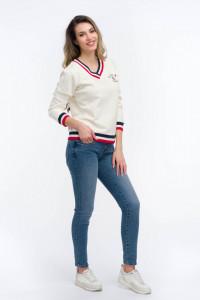 Timeout - Bluza maneca lunga cu decolteu in V si logo