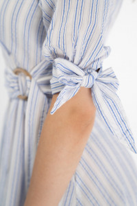 Lee Cooper - Rochie tip camasa cu imprimeu in dungi si cordon in talie