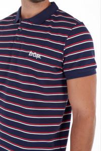 Lee Cooper - Tricou barbat tip polo cu imprimeu in dungi si logo