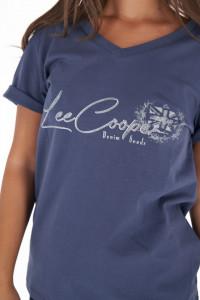 Lee Cooper - Tricou lejer dama cu decolteu in V si imprimeu logo
