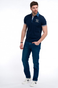 Timeout - Tricou tip polo cu aplicatii din denim