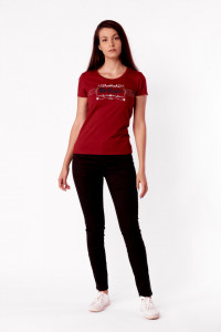 TRICOU MANECA SCURTA DAMA DARK RED LEE COOPER