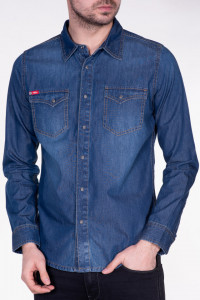 CAMASA MANECA LUNGA BARBAT MID BLUE LEE COOPER