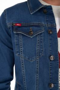 Lee Cooper - Jacheta barbat din denim cu buzunare aplicate pe piept si logo