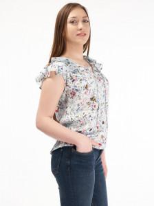 Martinez by Timeout - Camasa overzise cu imprimeu floral si volane la baza gatului