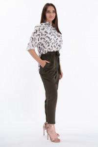 KVL - Pantaloni subtiri cu banda elastica in talie si buzunare oblice