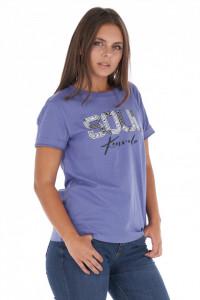 KVL - Tricou dama din bumbac cu decolteu la baza gatului si logo