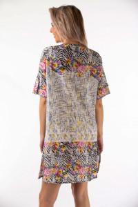 Montecristo - Camasa lunga cu imprimeu floral si detalii la baza gatului