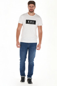 KVL - Blugi straight fit cu aspect decolorat