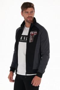 KVL - Bluza barbat cu fermoar si model imprimat