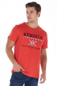 KVL - Tricou barbat din bumbac cu model logo texturat