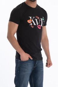 KVL- Tricou din bumbac cu maneca scurta si logo pe piept