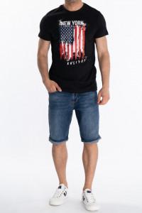 KVL - Tricou maneca scurta cu model steag si logo