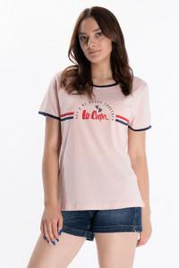 Lee Cooper - Tricou dama cu logo si detalii contrastante
