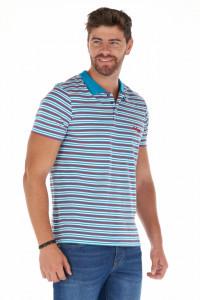 Lee Cooper - Tricou subtire tip polo cu imprimeu in dungi si logo