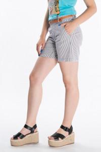 KVL - Pantaloni scurti cu imprimeu in dungi si curea atasata