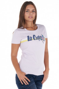 Lee Cooper - Tricou dama cu maneca scurta din bumbac cu imprimeu logo