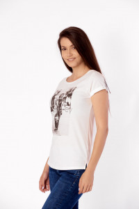 TRICOU MANECA SCURTA DAMA OFF WHITE KVL