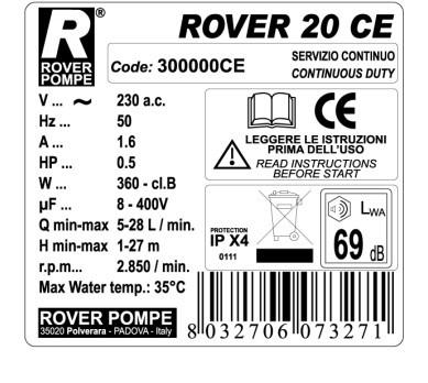 Pumpa za pretakanje ROVER 20