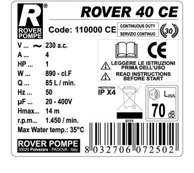 Pumpa za pretakanje ROVER 40