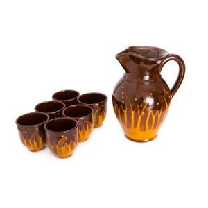 Vinski set bokal i 6 čaša Vatra dizajn