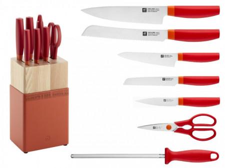 Set noževa Zwilling NOW S crvena boja + drveno postolje 8/1
