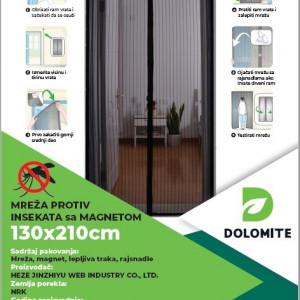 Mreža protiv insekata sa magnetom (komarnik) 1.3x2.1m Dolomite - SIVA