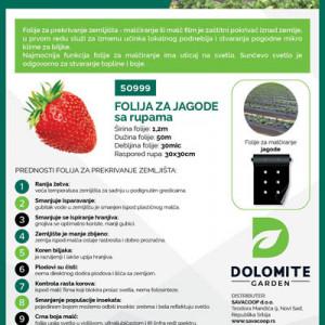 Folija za jagode crna 1,2mx50m 30mic sa rupama 30x30 Dolomite