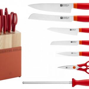 Set noževa NOW S crvena boja + drveno postolje 8/1 Zwilling