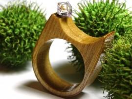 Poze Inel din lemn si cristal Swarovski; Inel eco friendly din lemn; Inel exclusivist din lemn si cristal Swarovski, Inel din sticla si lemn unicat;Inel autentic din lemn Made with Swarovski® Crystals; Wooden ring with Swarovski crystal