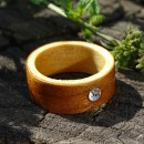Inel din lemn si sticla fuzionata; Inel eco frendly din lemn; Inel exclusivist din lemn si sticla;  Swarovski Crystals Ring, Wooden ring with Swarovski crystal, One of a kind wooden ring, Made with Swarovski® Crystals