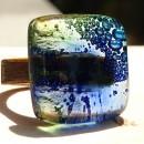 R17064;Inel din lemn si sticla fuzionata; Inel eco frendly din lemn; Inel exclusivist din lemn si sticla; Inel peisaj in sticla de purtat pe deget;Inel din sticla si lemn unicat;Inel autentic din lemn; Inel artistic din lemn