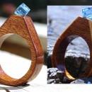 Inel din lemn si cristal Swarovski; Inel eco friendly din lemn; Inel exclusivist din lemn si cristal Swarovski, Inel autentic din lemn Made with Swarovski® Crystals; Wooden ring with Swarovski crystal
