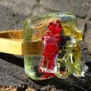 R17057;Inel din lemn si sticla fuzionata; Inel eco frendly din lemn; Inel exclusivist din lemn si sticla; Inel peisaj in sticla de purtat pe deget;Inel din sticla si lemn unicat;Inel autentic din lemn; Inel artistic din lemn