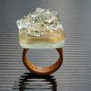 R17020;Inel din lemn si sticla fuzionata; Inel eco frendly din lemn; Inel exclusivist din lemn si sticla; Inel peisaj in sticla de purtat pe deget;Inel din sticla si lemn unicat;Inel autentic din lemn; Inel artistic din lemn
